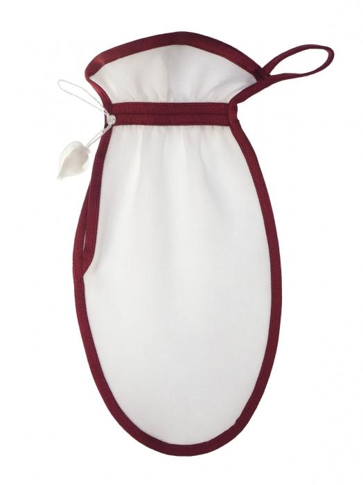 Рукавица для пилинга тела из плотного крепового шёлка (средний пилинг), вишнёвый