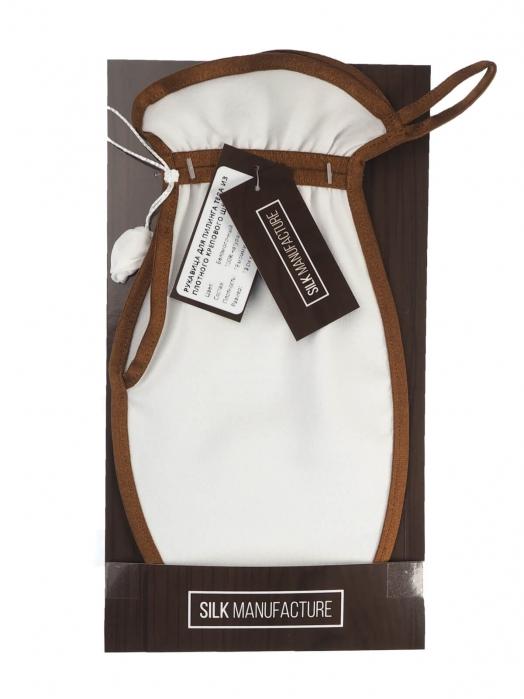 Рукавица для пилинга тела из плотного крепового шёлка (средний пилинг), карамельный