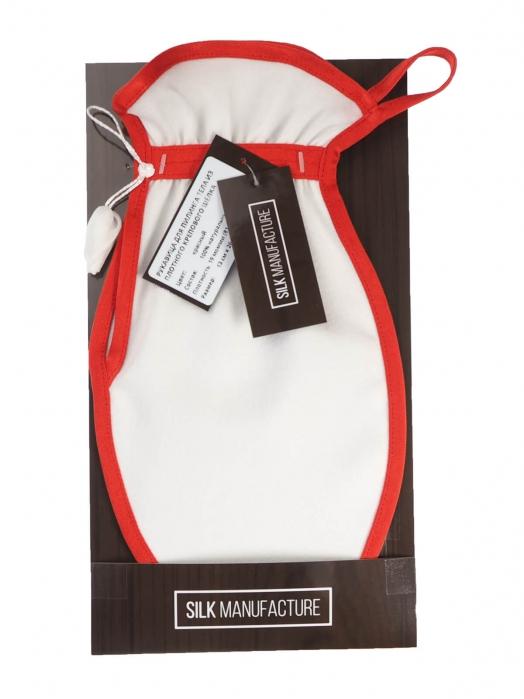 Рукавица для пилинга тела из плотного крепового шёлка (средний пилинг), красный