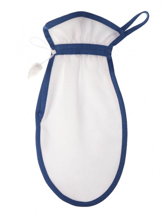 Рукавица для пилинга тела из плотного крепового шёлка (средний пилинг), синий