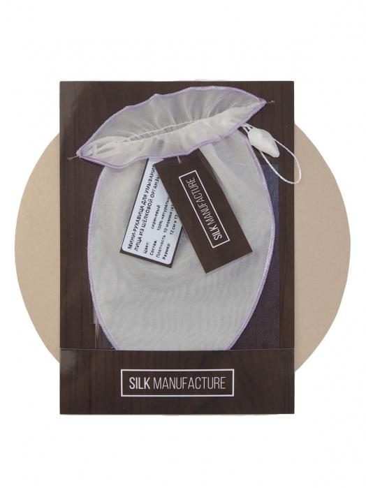 Мини-рукавица для умывания лица из шёлковой органзы (для сухой и чувствительной кожи), сиреневый