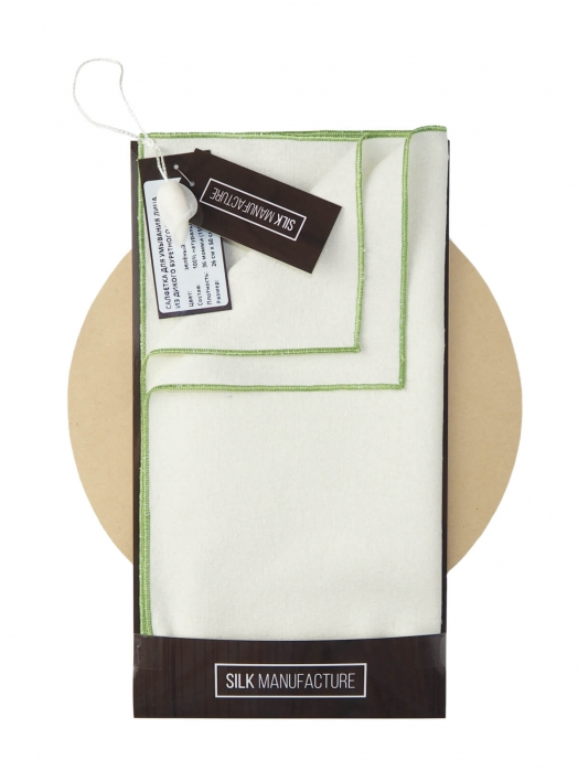 Cалфетка для умывания лица из дикого буретного шёлка (для нормальной и жирной кожи), зелёный