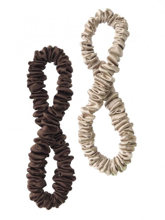 Шёлковая резинка для волос CURLY TAIL (2 шт), бронзовый и шоколадный