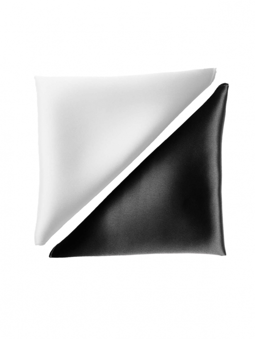 Набор платочков из натурального шёлка (2 шт), белый и чёрный жемчуг