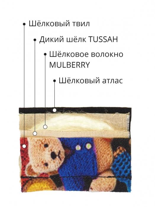 Пятислойная маска для сна из трёх видов натурального шёлка, SWEETY BEARS